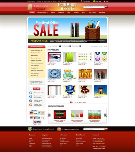 ecommerce site template psd ecommerce website template graphicsfuel