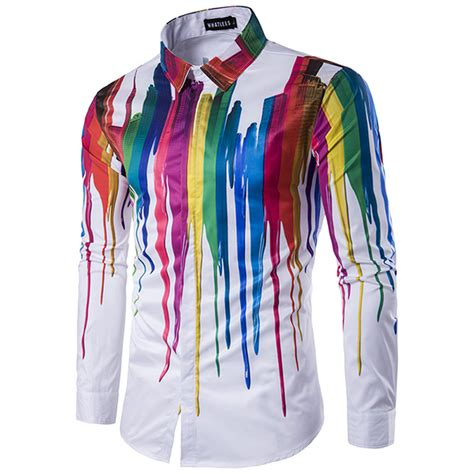 colorful shirts mens colorful personalized ink 3d printing turn
