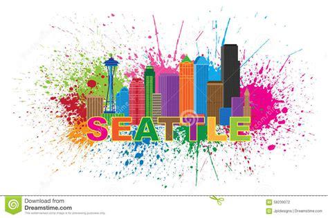 Ballard Design Atlanta seattle city skyline paint splatter vector illustration