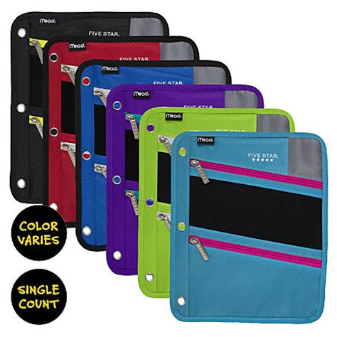 Office Depot Zipper Pouch Five Zipper Three Punched Pencil Pouch Assorted