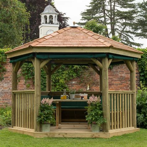 wooden gazebo m m timber hexagonal 3 6m wooden garden gazebo