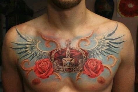 rose chest tattoo designs on chest