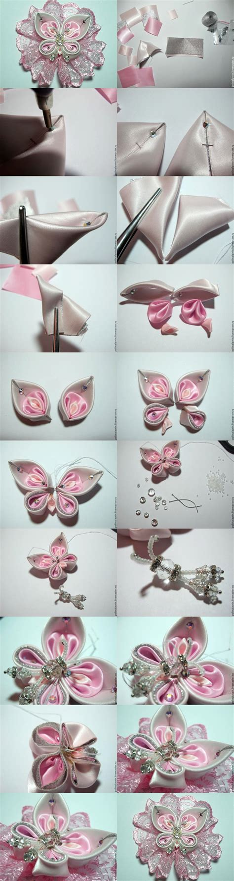 paper kanzashi flower tutorial how to make kanzashi butterfly www pixshark com images