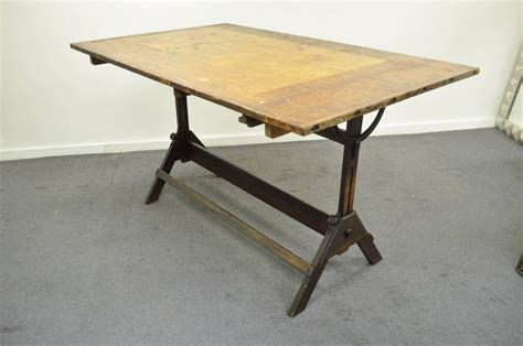 Cast Iron Dining Table Large Antique American Industrial Oak And Cast Iron Drafting Or Dining Table At 1stdibs
