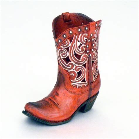 Cowboy Boot Flower Vase 4 5 quot mini die cut scroll cowboy boot dried flower vase