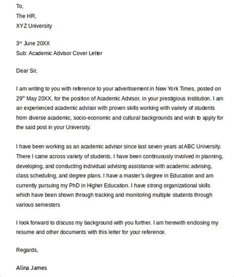 Sample Academic Advisor Cover Letter   9  Free Documents
