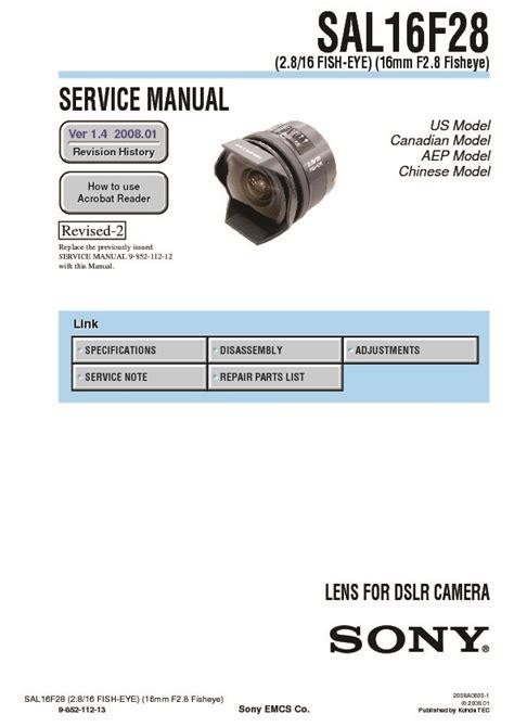 Sony Lens Sal 16mm F2 8 Fish Eye sony sal16f28 service manual free