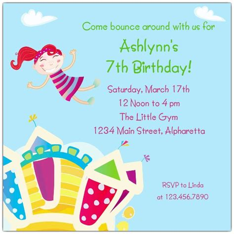 birthday invitations bouncy castle birthday invitations paperstyle