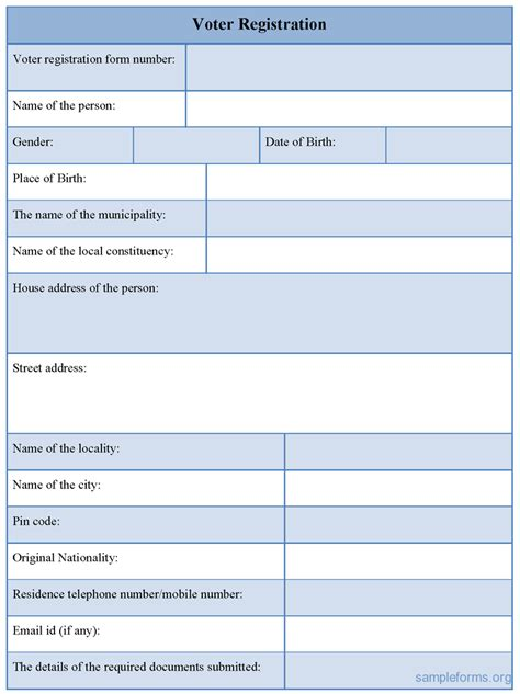 voter registration form voter registration form sle forms