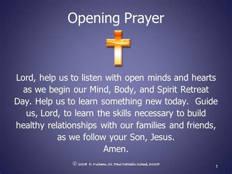 opening prayer opening prayer lord help us to listen with open minds and
