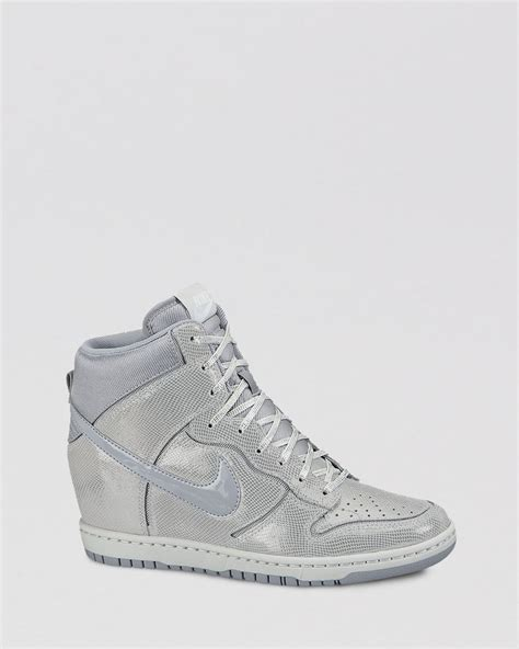 nike high top womens sneakers nike high top wedge sneakers womens dunk sky hi in gray lyst