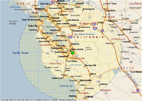 california map showing san jose san francisco map san jose