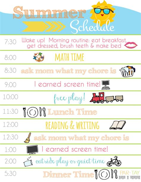 printable schedule for toddlers summer boredom blaster calendar daily schedule printable