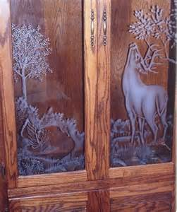Wood Gun Cabinet With Etched Glass Etchedguncabinetglass