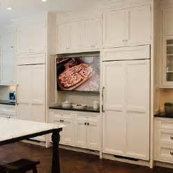 kitchen television ideas parquet wood floors transitional kitchen