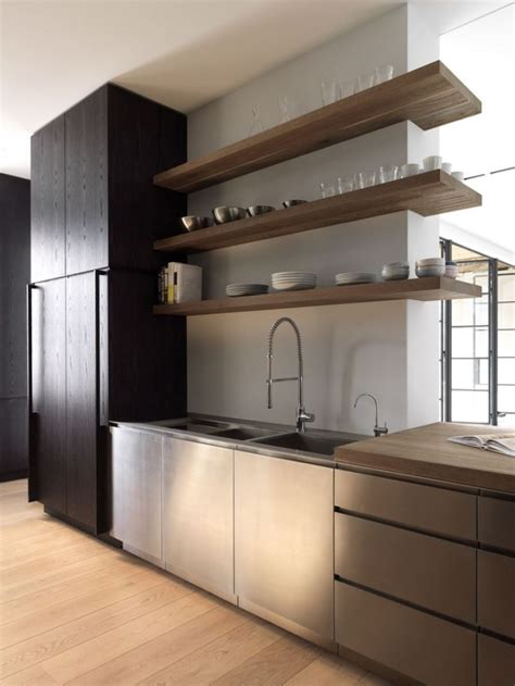 kitchen with wood open shelves just decorate
