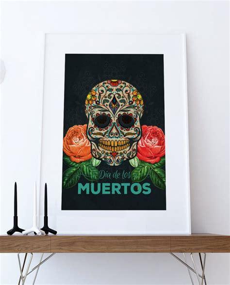 dia de los muertos home decor dia de los muertos mexican retro sugar skull illustration