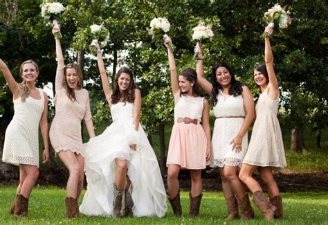 Rustic Bridesmaid Dresses with Boots
