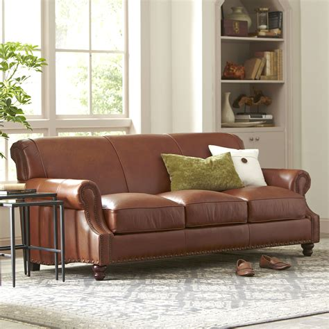 wayfair birch sofa birch landry leather sofa reviews wayfair