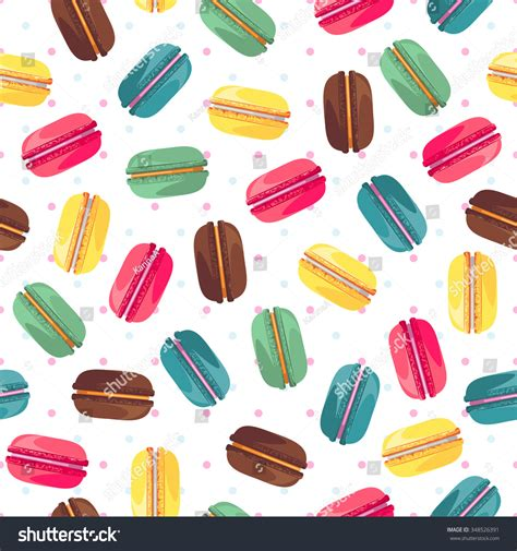 cute macaron pattern seamless pattern french sweet macaroons cute stock vector