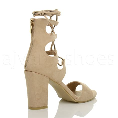 Mwj Sandal Wedges Ap01 womens high block heel ghillie caged lace up peep toe shoes sandals size ebay