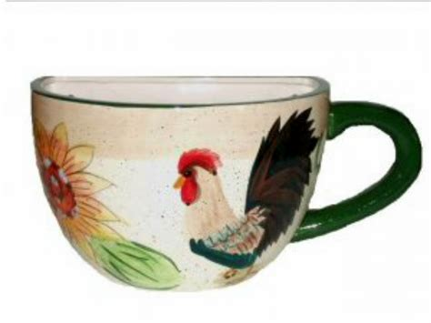 Coffee Cup Planter by Large Coffee Cup Planter With Rooster And Sunflower Wall Decor