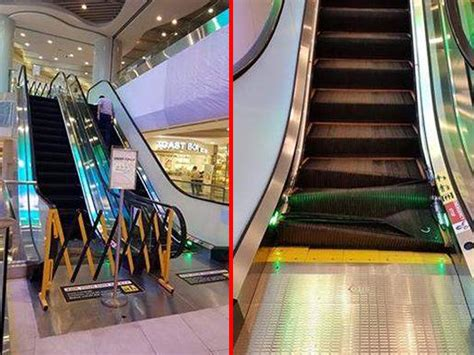 crushed by escalator almost gets crushed by malfunctioning escalator at