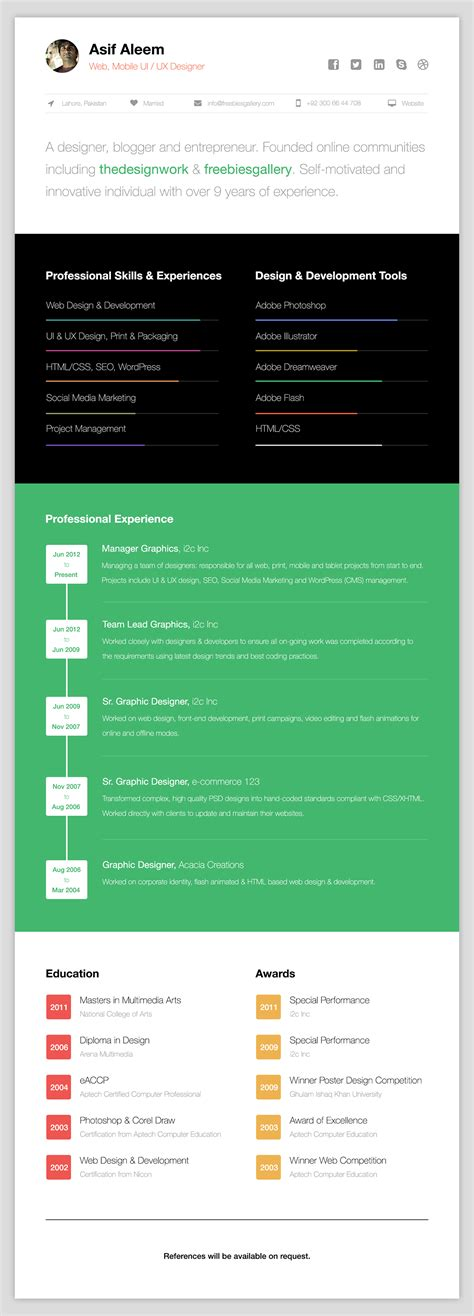 Free Resume Website Template by Free One Page Web Resume Template Freebies Gallery