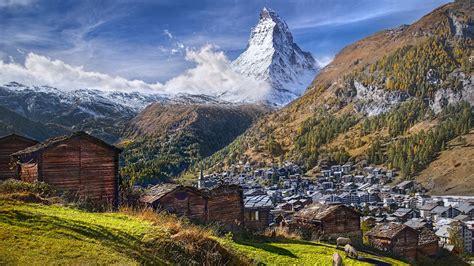 mountain matterhorn alps  switzerland  italy europe matterhorn   village