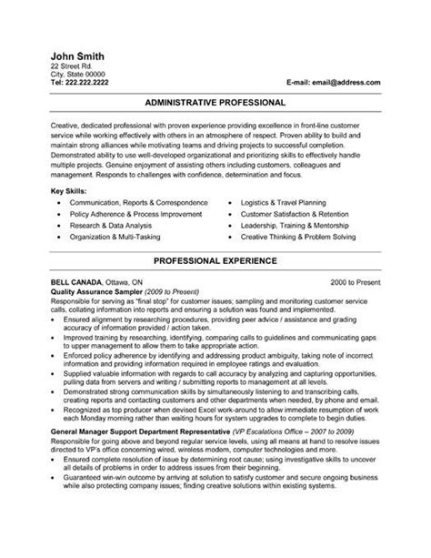 Professional Cv Writing Sles by Administration Resume Template 28 Images Office