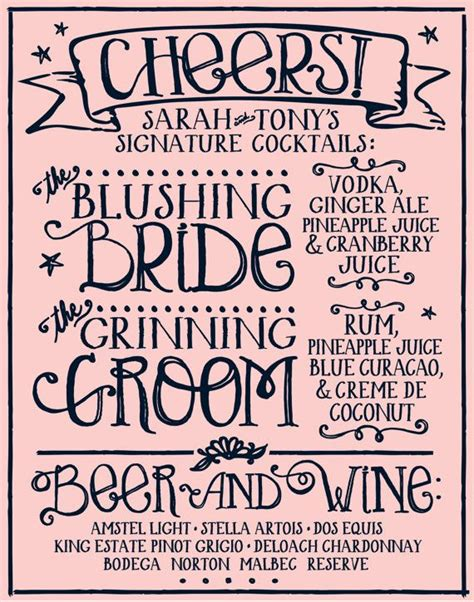 signature cocktail menu custom wedding decor