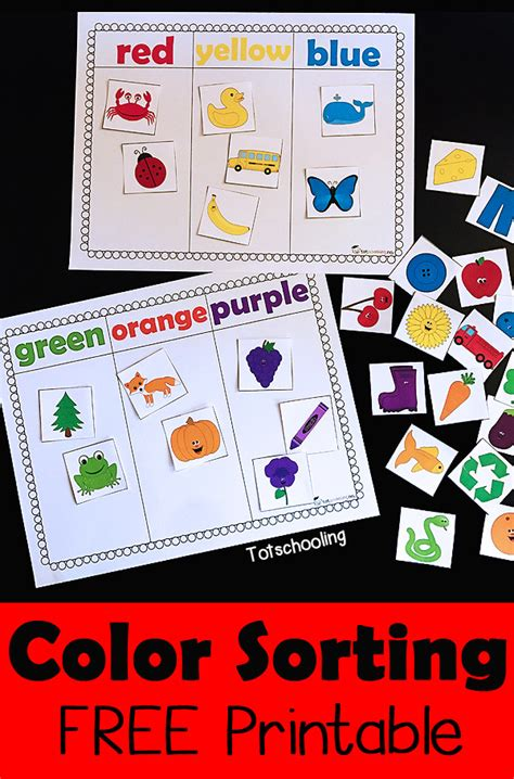color activities for toddlers color sorting printable activity totschooling toddler