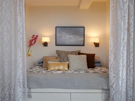 airy curtains separate bedroom in studio apartment a readymade bed was painted and built in to