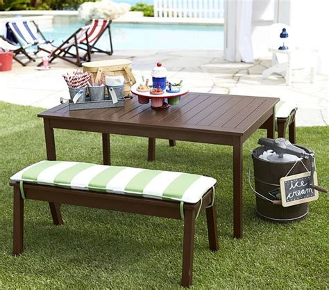pottery barn bench table chesapeake table bench modern garden furniture by