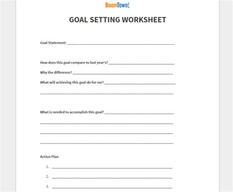 Real Estate Goal Setting Template Goal Setting Archives Boomtown