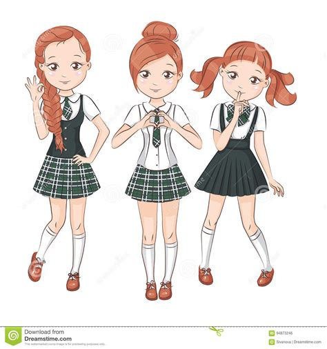 hairstyles for college uniform three cute girlfriends stock vector image 94873246