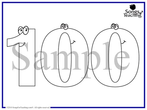 100 days school coloring pages