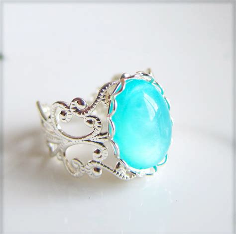 Blue Rings blue silver ring turquoise blue aqua ring seafoam blue ring