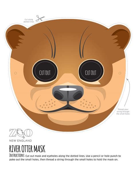 sloth mask template otter mask zoo new
