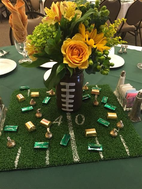 edison football banquet mason jar football with turf