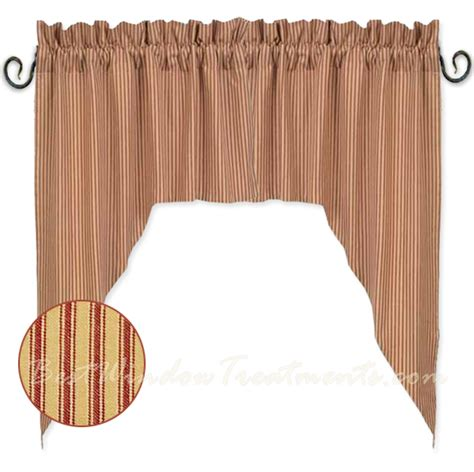 red swag curtains york ticking barn red swag curtains