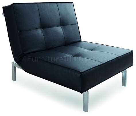 Chair Bed Black Fabric Modern Chair Bed Convertible W Metal Legs