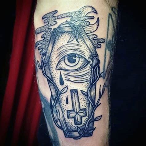 old style coffin with crying eye and inverted cross tattoo