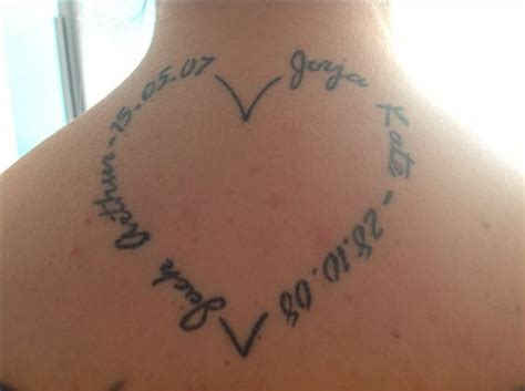 tattoo with name and heartbeat heart shape tattoo with my kids name and birth date