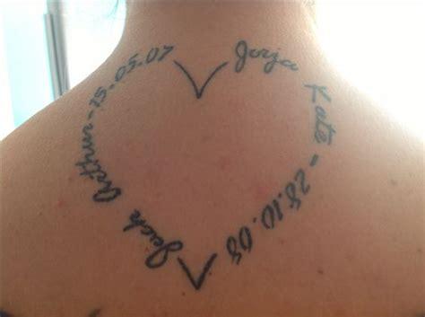 tattoo name heart heart shape tattoo with my kids name and birth date