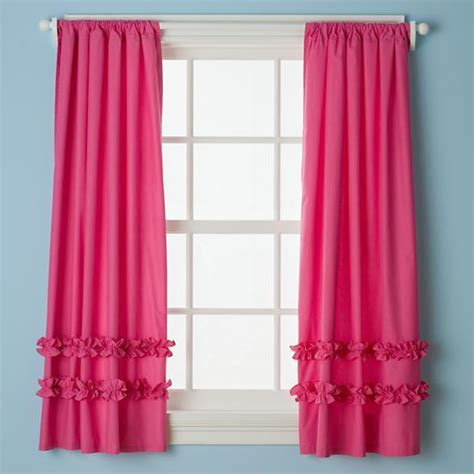 fushia pink curtains kids hot pink ruffle curtain panels the land of nod