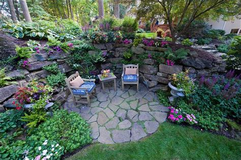 backyard grotto grotto garden with deck in back ground galium odoratum at
