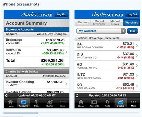 schwab bank phone charles schwab releases iphone app mybanktracker