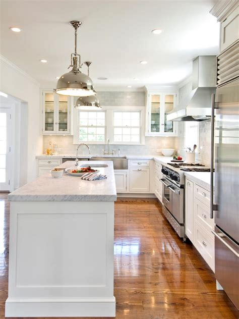 White L Shaped Kitchen With Island | white kitchen cabinets with stainless steel appliances