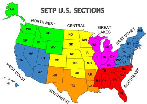 sections of united states map of setp u s sections setp sections